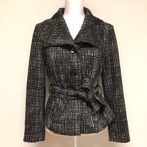 Willi Smith Black White Oversized collar Pea Coat